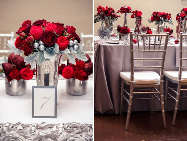 Holiday Inspired Red Silver Wedding
