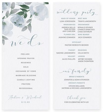 My DIY Wedding Programs