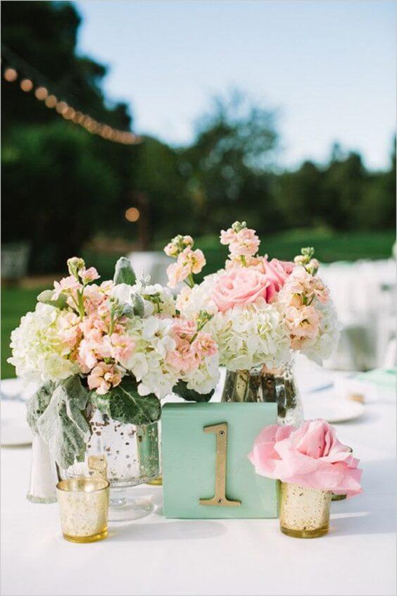 Pretty Teal & Peach Blossoms