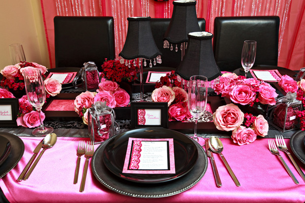 Saucy Pink & Black Damask Tablescape